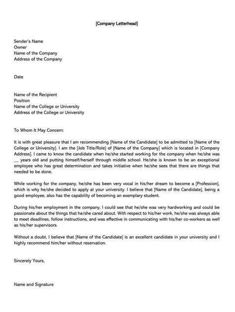 college recommendation letter sample letters