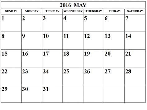 may 2016 blank templates pdf word excel printable