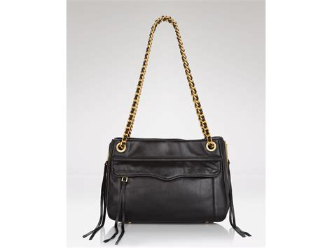 leather swing rebecca minkoff shoulder bag swing leather in black lyst