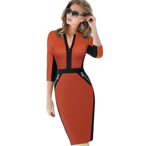 Dress Stretch plus size front zipper work wear stretch