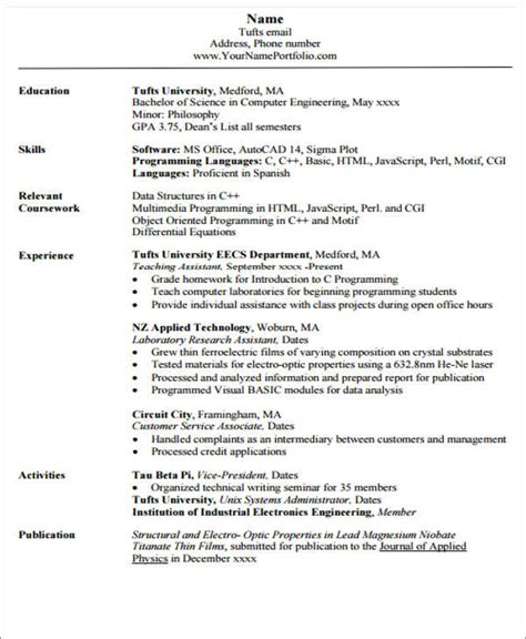 resume format for computer engineering students pdf 20 engineering resume templates in pdf free premium templates