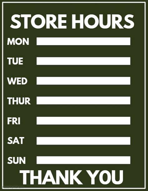 store hours template free store hours template postermywall
