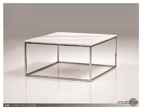 mobital kube square coffee table in white marble top