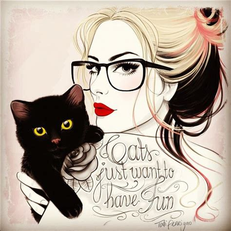 cat tattoo hipster hipster retro girl with tattoo cat by tati ferrigno via
