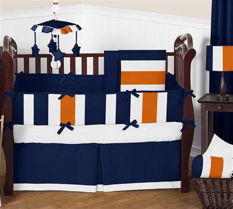 navy blue and white crib bedding stripe navy blue and orange crib bedding collection