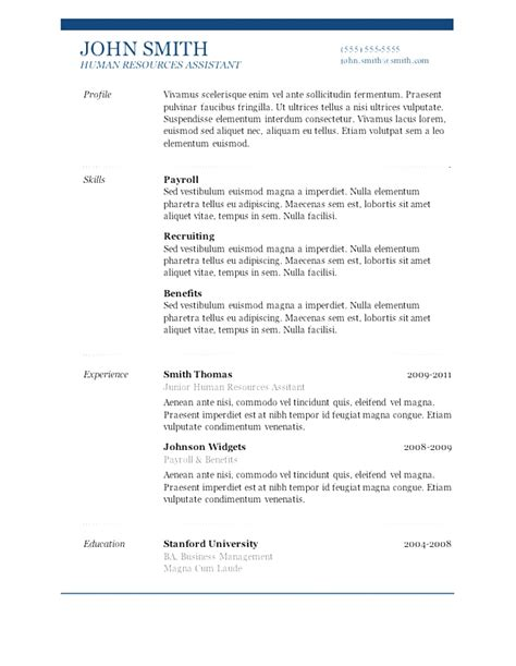 Resume Template For A Simple Free Resume Templates In Microsoft Word 7 Free