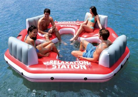 cool boat tubes intex inflatable island floating lounge raft water biscuit