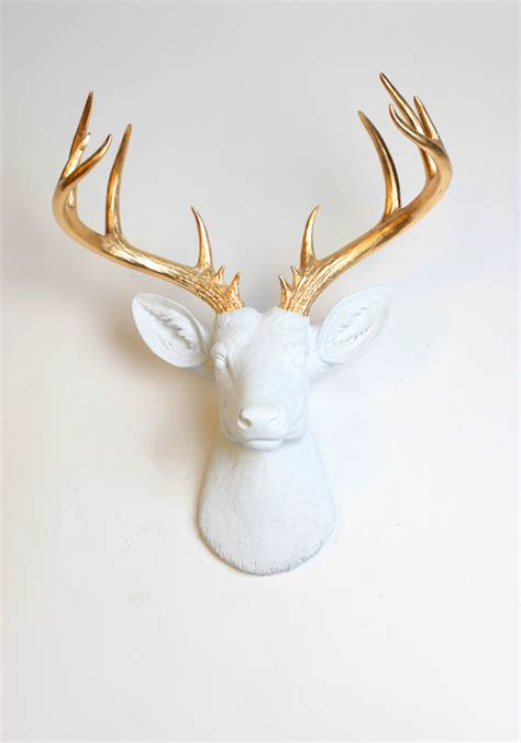 white and gold deer head 187 hex libris