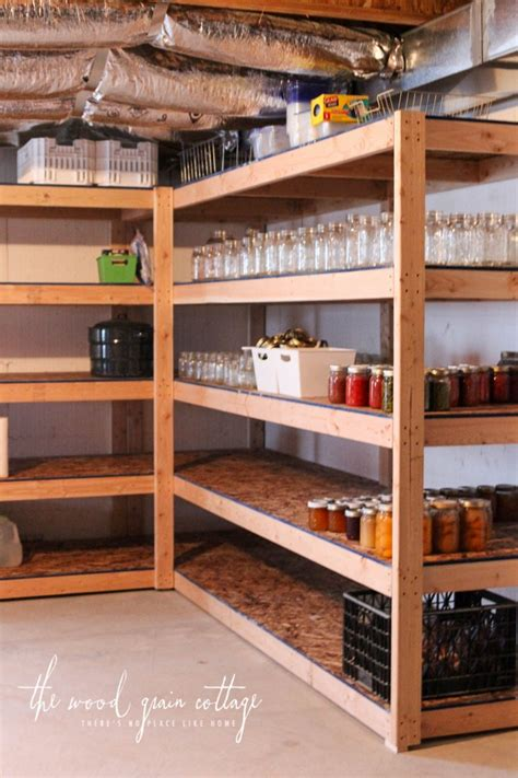 Hanging Kitchen Cabinets From Ceiling by Diy Basement Shelving The Wood Grain Cottage