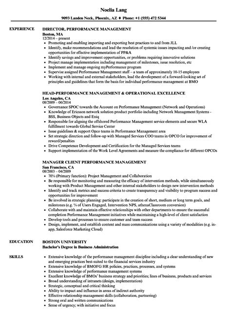 Performance Resume by Performance Management Resume Sles Velvet