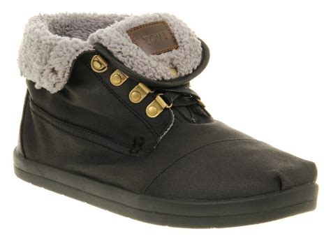 fur lined boots mens toms botas fur lined boot in black for lyst