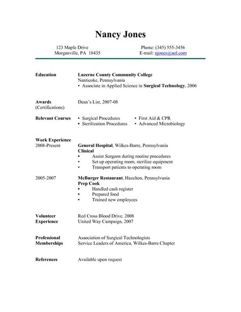 resume for surgical technologist free resume templates