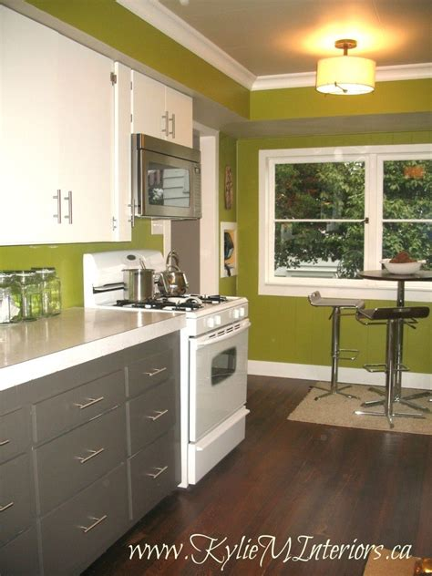 Painted 1950 s kitchen cabinets amherst gray cloud white dark stained floors funky green walls