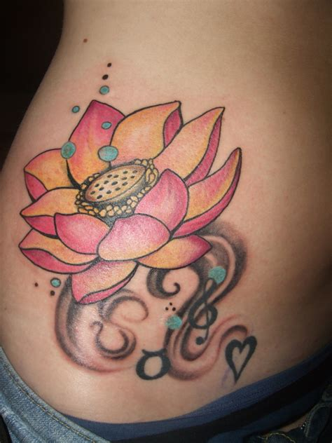 side flower tattoo lotus flower on side