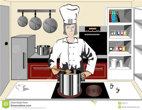 chef in the kitchen stock vector image of happy cooking 2141711
