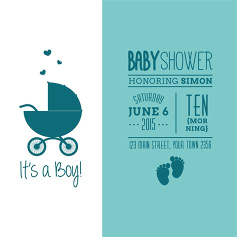 Baby Shower E Card by Retro Baby Shower Cards 03 Vector Welovesolo
