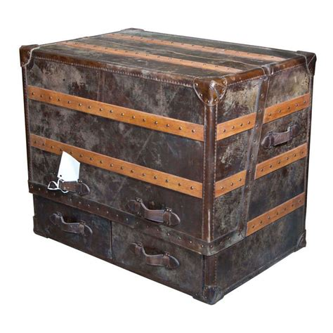 Cowhide Desk - two leather and cowhide trunk desk for sale at 1stdibs
