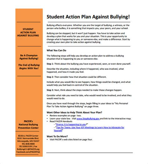 sle student action plan 6 documents in pdf
