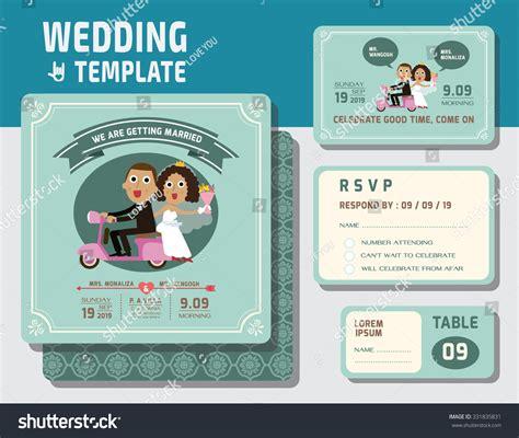 invitation layout character cute groom bride character wedding invitation stock vector