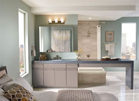 kraftmaid maple slab door in pebble grey contemporary
