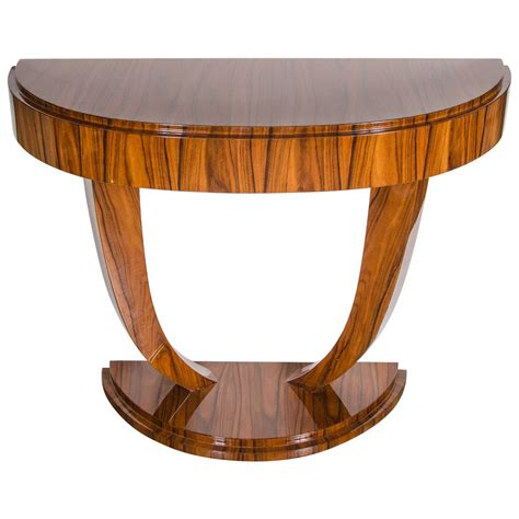 Art Deco Demilune Console Table In Book Matched Rosewood Deco Sofa Table