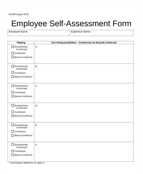 self assessment report template self assessment form