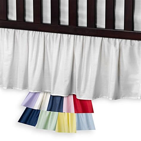 bed bath and beyond bed skirts buy t l care cotton percale crib bed skirt in blue from