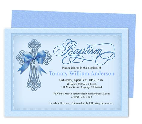 Printable Diy Baby Baptism Christening Invitation Baptism Card Template