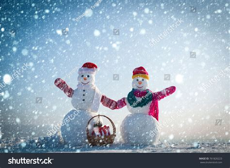 new year snow new year snow concept snowman stock photo