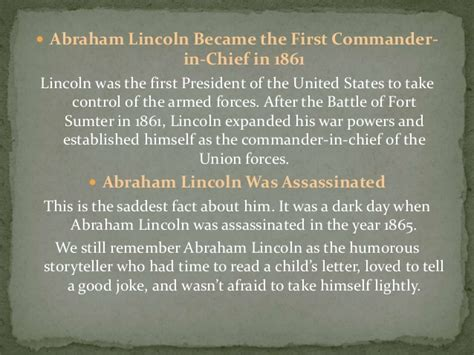 abraham lincoln facts about his facts about abraham lincoln