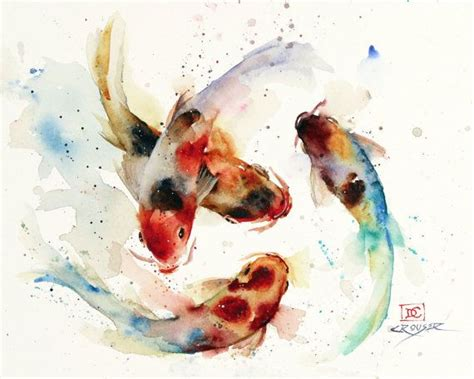 Koi Water Color 18 Warna koi school watercolor fish koi print koi painting koi print by dean crouser