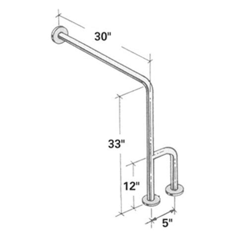 Floor Mounted Grab Bars by Wall To Floor Stainless Steel Grab Bar With Outrigger