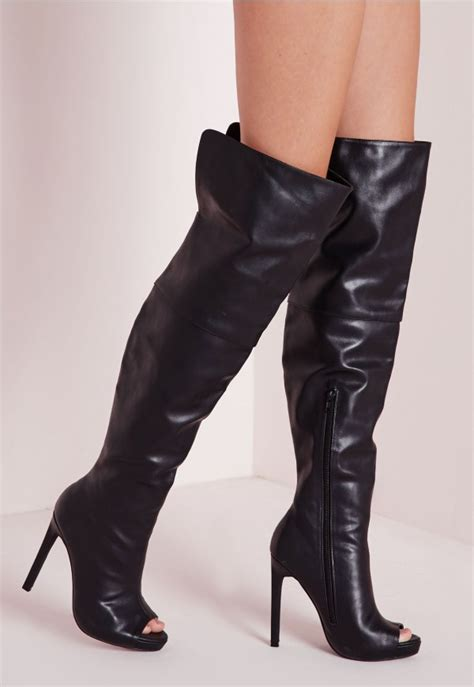 faux leather thigh high peep toe boots black shoes