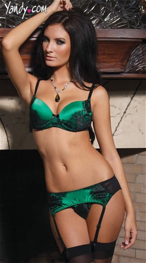 Underwired G String Green Colour green satin bra and garter set green satin and black lace bra set black and green set