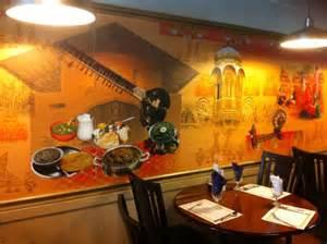 wall decor inside sitar express indian restaurant in