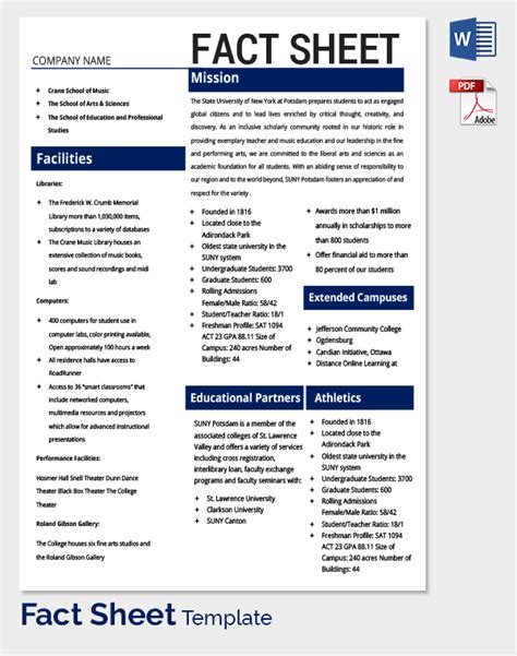 fact sheet template 32 free word pdf documents