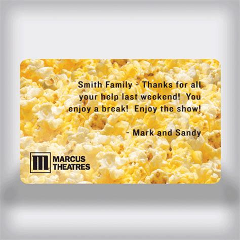 Marcus Theatre Gift Card - marcus theatres custom movie gift card popcorn edition