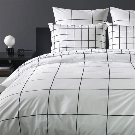 Bett Mit Gitter by Grid Black Duvet Cover Unison