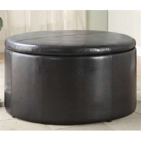 round leather ottoman with storage trent home houston round faux leather storage ottoman in