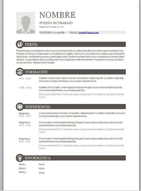 Modelo Cv Espa A Descargar the 25 best curriculum vitae en espa 241 ol ideas on