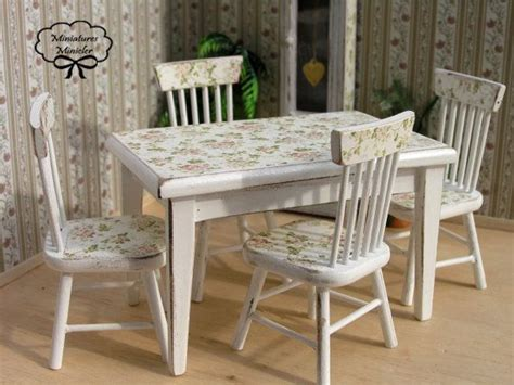 dollhouse kitchen table with chairs shabby chic style by