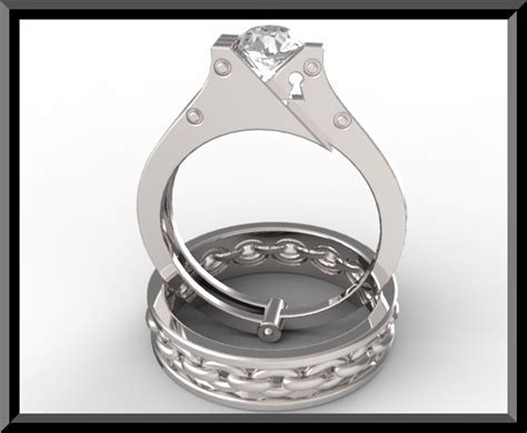 Unique Sapphire Handcuff Wedding Ring Set In White Gold