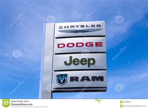 jeep dodge chrysler chrysler automobile dealership editorial stock image