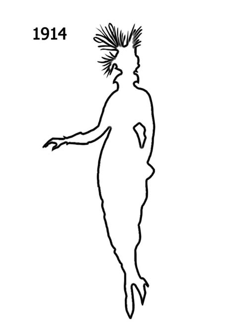 Free Outline White Silhouettes 1910-1920 in Costume