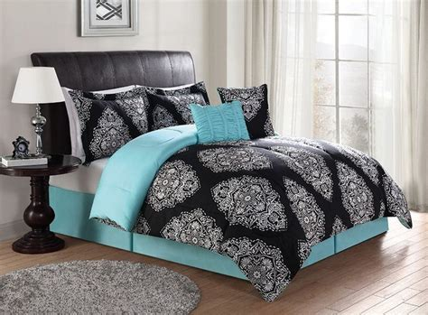 black and turquoise comforter sets beautiful black turquoise teal blue comforter set