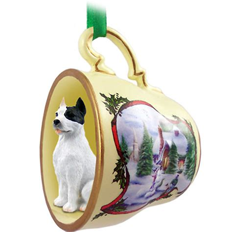 personalized pit bullterrier christmas ornaments pit bull terrier ornament figurine teacup white