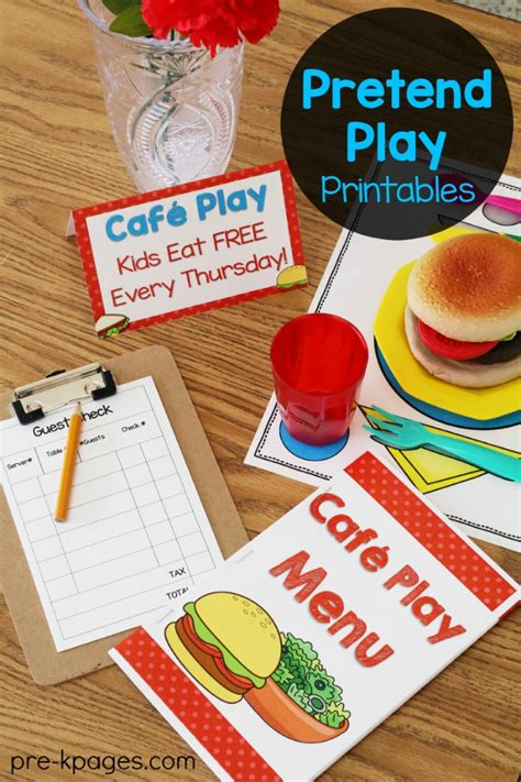 Play Kitchen Menu by Dramatic Play Restaurant Printable Menu Dramatic Play