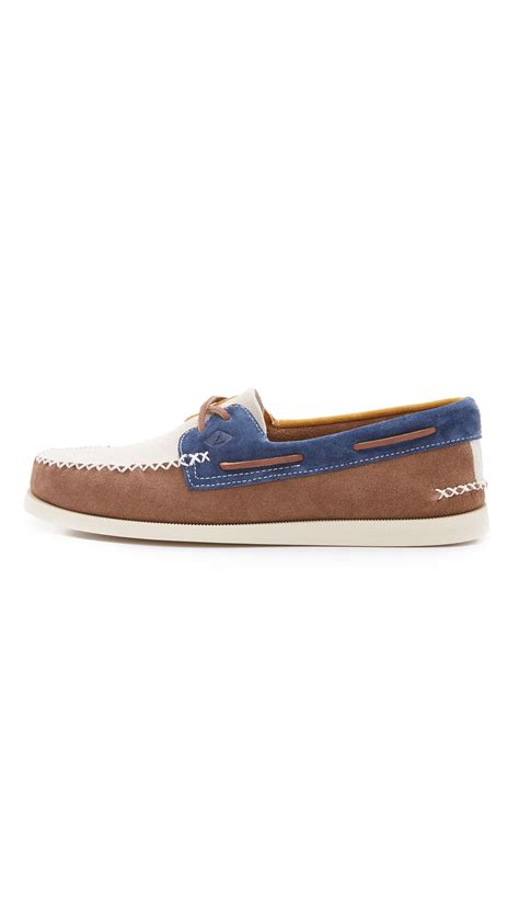 sperry top sider a o 2 eye wedge suede boat shoes in brown