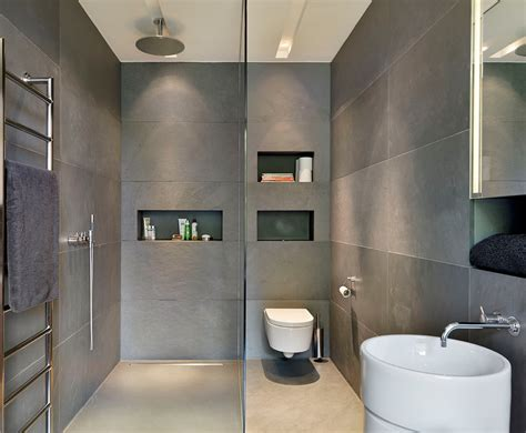 Modern Grey Bathroom Cool Small Shower Room Design Ideas