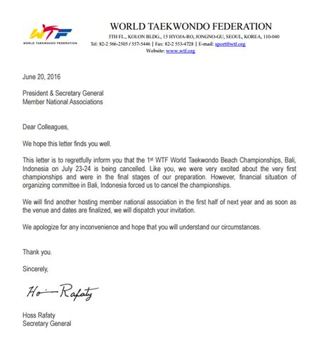 Financial Difficulties Letter Template World Taekwondo World Chionships Cancelled Due To Financial Problems